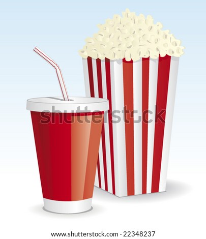 cola & popcorn - stock vector