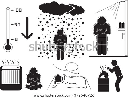 Cold and illness icon set - stock vector