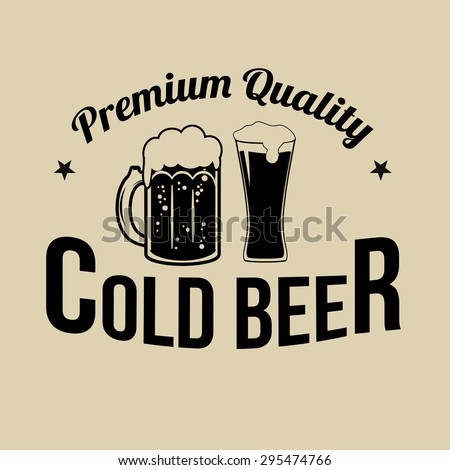 Cold Beer icon, label or stamp on retro style background, vector illustration