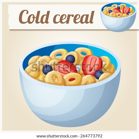 Cold cereal. Detailed Vector Icon. Series of food and drink and ingredients for cooking. - stock vector