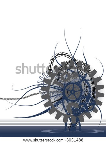 cold, futuristic, mechanical background (design element) - stock vector