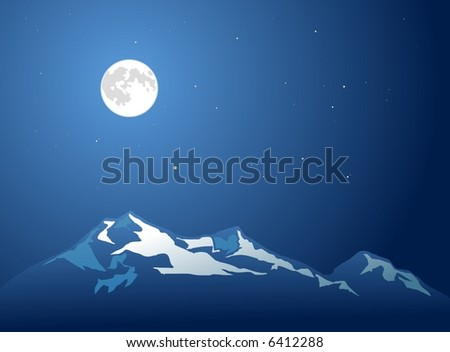 Cold Mountain with Full Moon