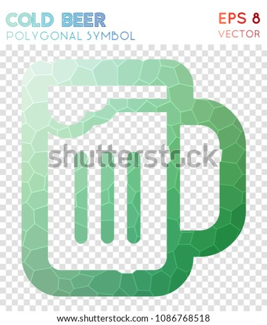Cold Polygonal Symbol, Admirable Mosaic Style Symbol. Beauteous Low Poly  Style, Modern Design