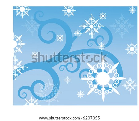 cold snowflakes stylized vector