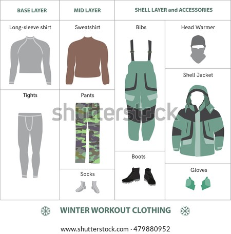 Cold Weather Workout Layered Clothes Flat Stock Vector ...
