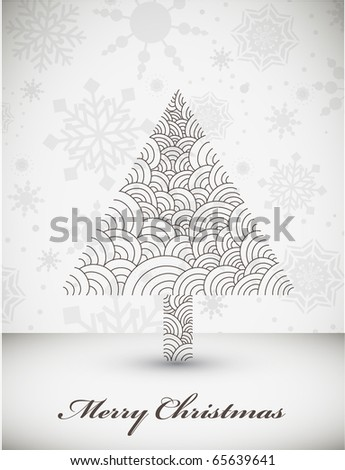 Cold Winter Christmas Background with Abstract Christmas Tree - stock vector