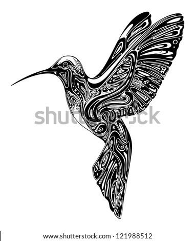 colibri in graphics technique - stock vector
