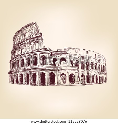Coliseum  hand drawn  vector illustration  isolated - stock vector