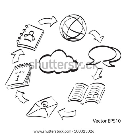 collaboration diagram - stock vector