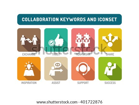Collaboration Flat Icon Set - stock vector