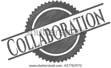 Collaboration pencil draw - stock vector