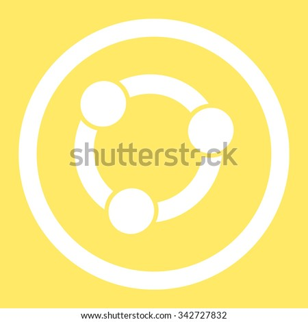Collaboration vector icon. Style is flat rounded symbol, white color, rounded angles, yellow background. - stock vector