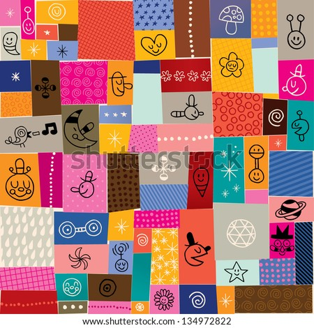 collage doodle pattern - stock vector