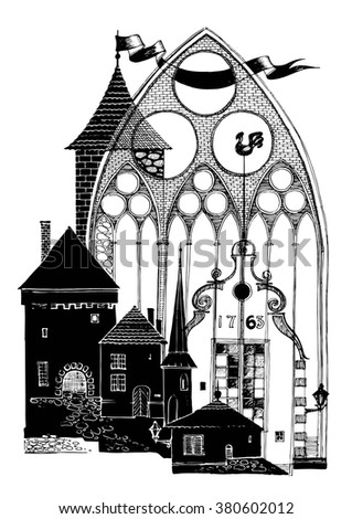 Collage graphic design on the theme of an old European city. The silhouette of the towers and the portal of the Church. - stock vector