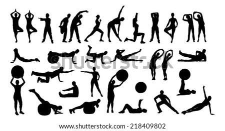 Collage of silhouette people performing various exercises over white background. Vector image