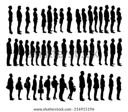 Collage of silhouette people standing in line against white background. Vector image - stock vector