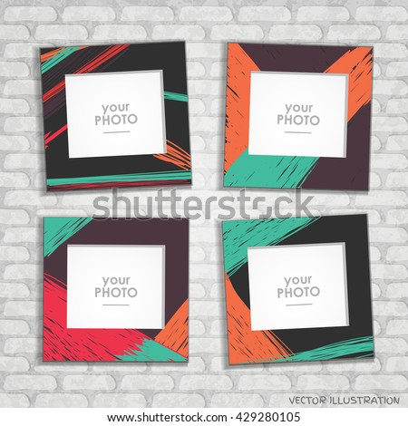 Collage Photo Frame Album Template Kids Stock Vector 429280105