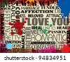 Collage with various love words on grunge background, vector illustration - stock photo