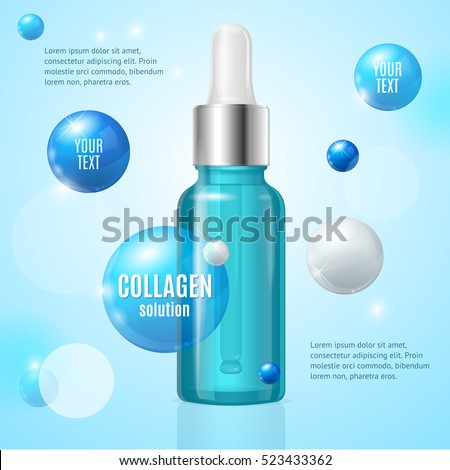 Collagen Solution Package Card with Place for Your Text Dropper Bottle. Vector illustration