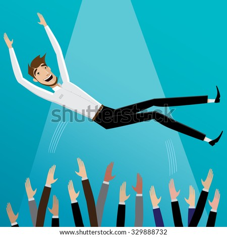 Colleagues toss up happy businessman | Success concept - stock vector