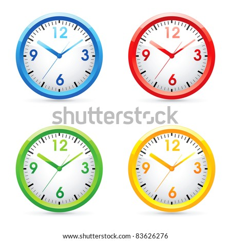 Collec�tion of vector color bright wall clock .