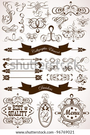Collect Calligraphic and Floral Design Element, Vintage Dividers and Frames, vector illustration - stock vector