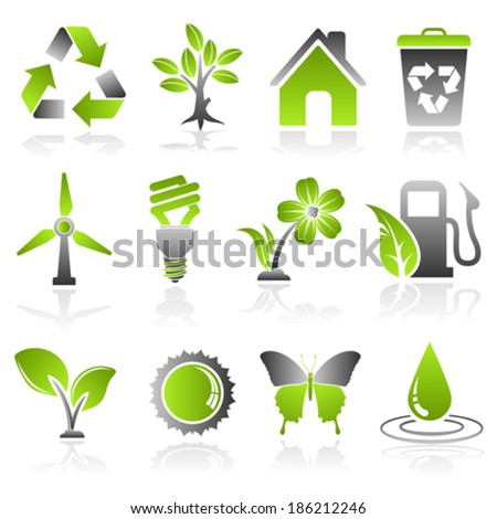 Collect Environment Icon with Tree, Leaf, Light Bulb, Recycling Symbol, vector isolated on white background - stock vector