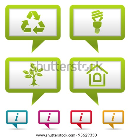 Collect Environment Web Icon with tree, leaf, light bulb and Recycling Symbol, vector illustration - stock vector