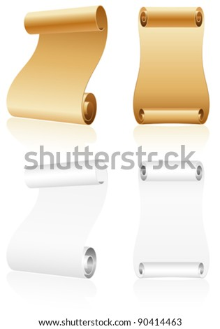 Collect Old Scroll Paper on White Background, template for design - stock vector