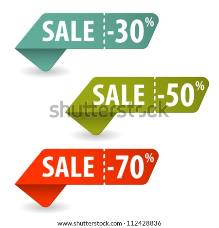 Collect Sale Signs with Tear-off Coupon, vector illustration - stock vector
