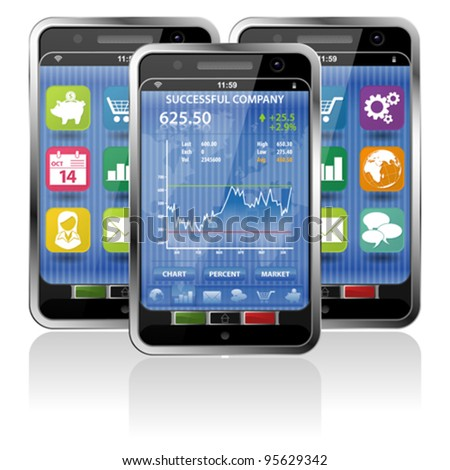 Collect Smartphones with Stock Market Application and various Icons - stock vector