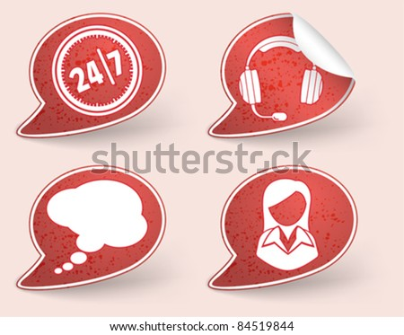 Collect Sticker with business woman and consultant icon, element for design, eps10 vector illustration - stock vector