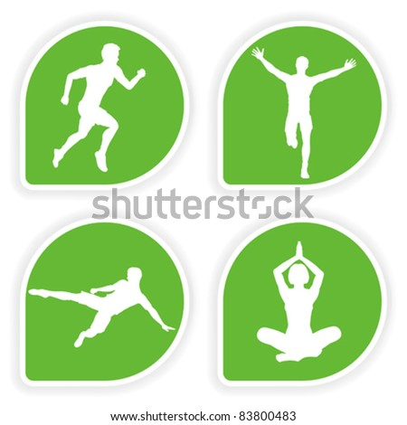 Collect Sticker with silhouettes running man, yoga girl and soccer player, vector illustration - stock vector