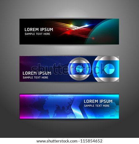 Collection abstract banner design Horizontal, vector illustration - stock vector