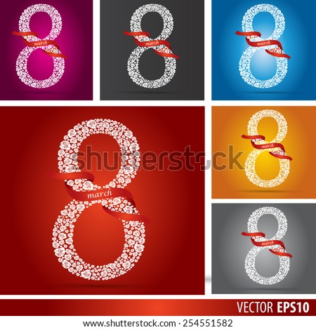 Collection. Abstract Floral Greeting card with 8 March. Trendy Design Template.  White and trendy Blue , red, black , orange, green color. Vector Version - stock vector