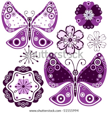 Collection abstract flowers and butterflies for design on white (vector) - stock vector