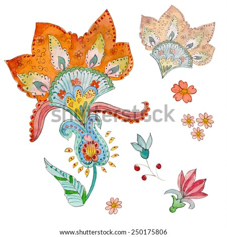 collection an abstract floral elements. watercolor - stock vector
