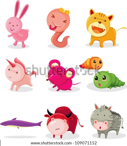 COLLECTION  ANIMAL ALPHABET - R-Z - stock vector