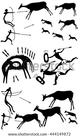 Collection background with a petroglyphic ancient fresco about hunting. Cave paintings of mammoths and antelopes. - stock vector