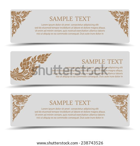 Collection banner design with line thai art.vector - stock vector