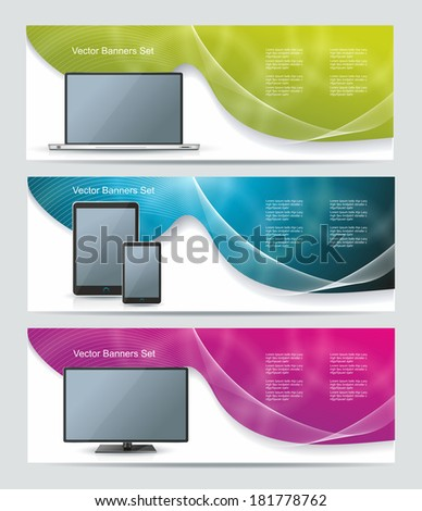 Collection banner design with smart phone, tablet pc, laptop and computer, colorful sunlight background, vector illustration  - stock vector