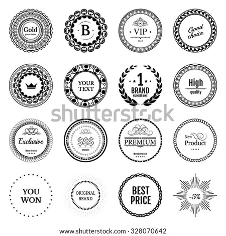 Collection black labels for promo seals vintage sticker with text can be use for