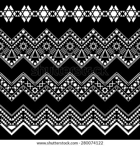 Collection black-white tribal borders. Vector illustration. - stock vector