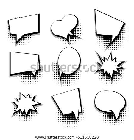 Collection Blank Template Comic Text Speech Stock Vector 611510228 ...