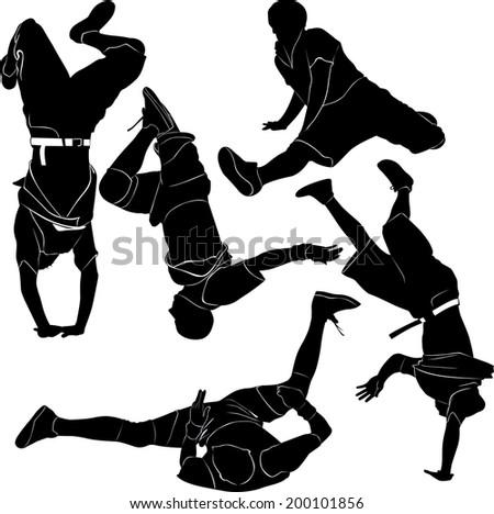 collection breakdance break dance - stock vector