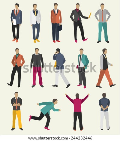 Collection Business people man design vector in different poses - stock vector