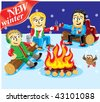 Collection cartoon personage. Winter Christmas holiday. Camping. - stock photo