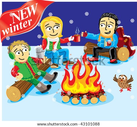 Collection cartoon personage. Winter Christmas holiday. Camping. - stock vector