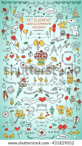 Collection celebration vector  elements. For use in the design of festive decoration, wedding, invitation cards, components, patterns, backgrounds, handmade ornament drawing. - stock vector