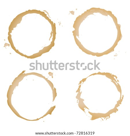 Collection Coffee Stain, Isolated On White Background, Vector Illustration